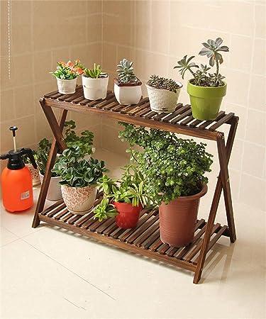 Karbonisiert Einfache Holz Blumentopf Regal Pflanze Stand Wohnzimmer