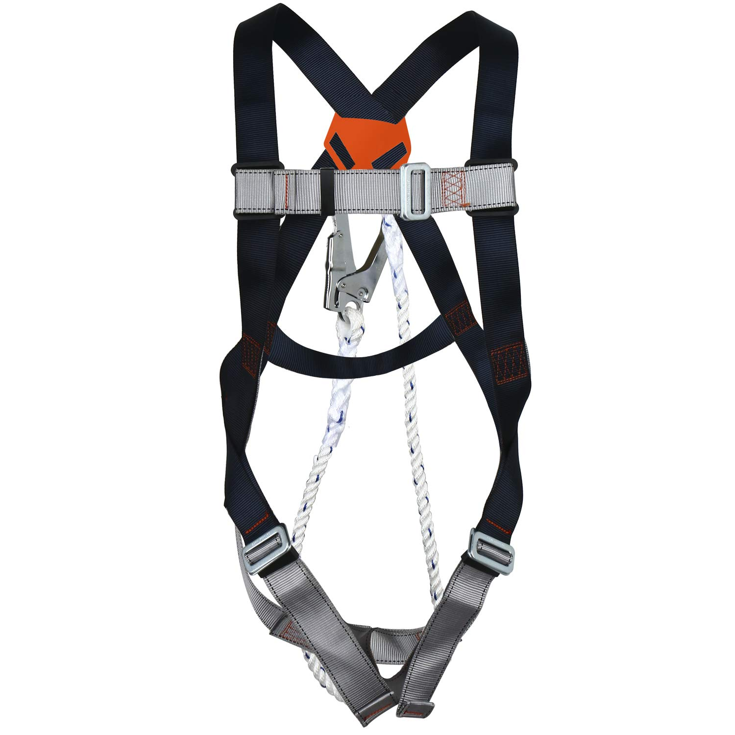 Safety Harness Fall Protection Kit, Construction Full Body System, With 3.2 ft Lanyard Size up To 42'' Waist, 22KN
