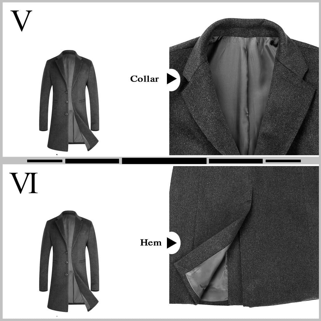 APTRO Mens Trench Wool Coat Long Gentleman Business Black Top Coat 01 Grey, Medium