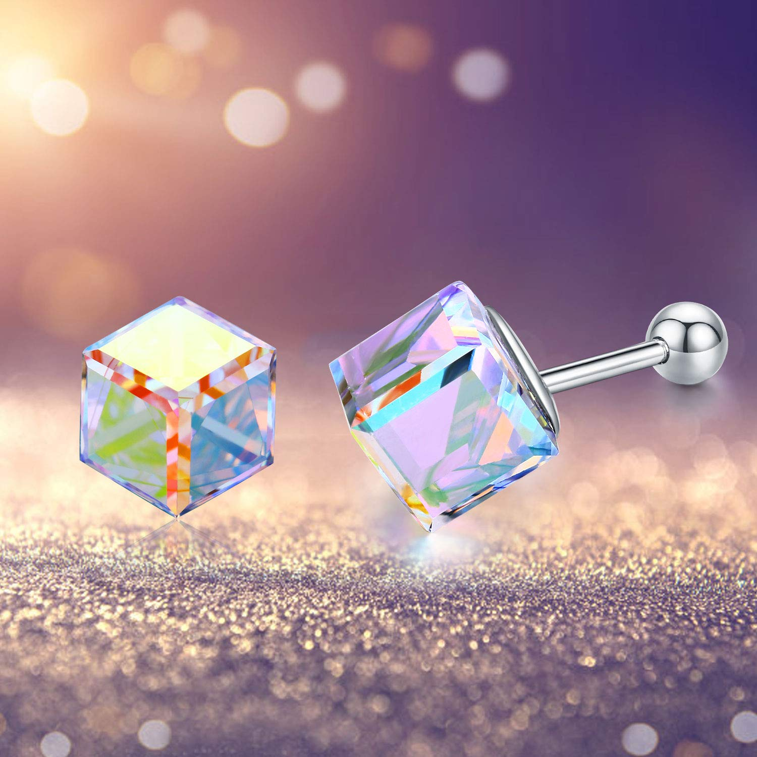 925 Sterling Silver Crystal Stud Earrings for Women,Crystals Cube Hypoallergenic Earrings for Her.