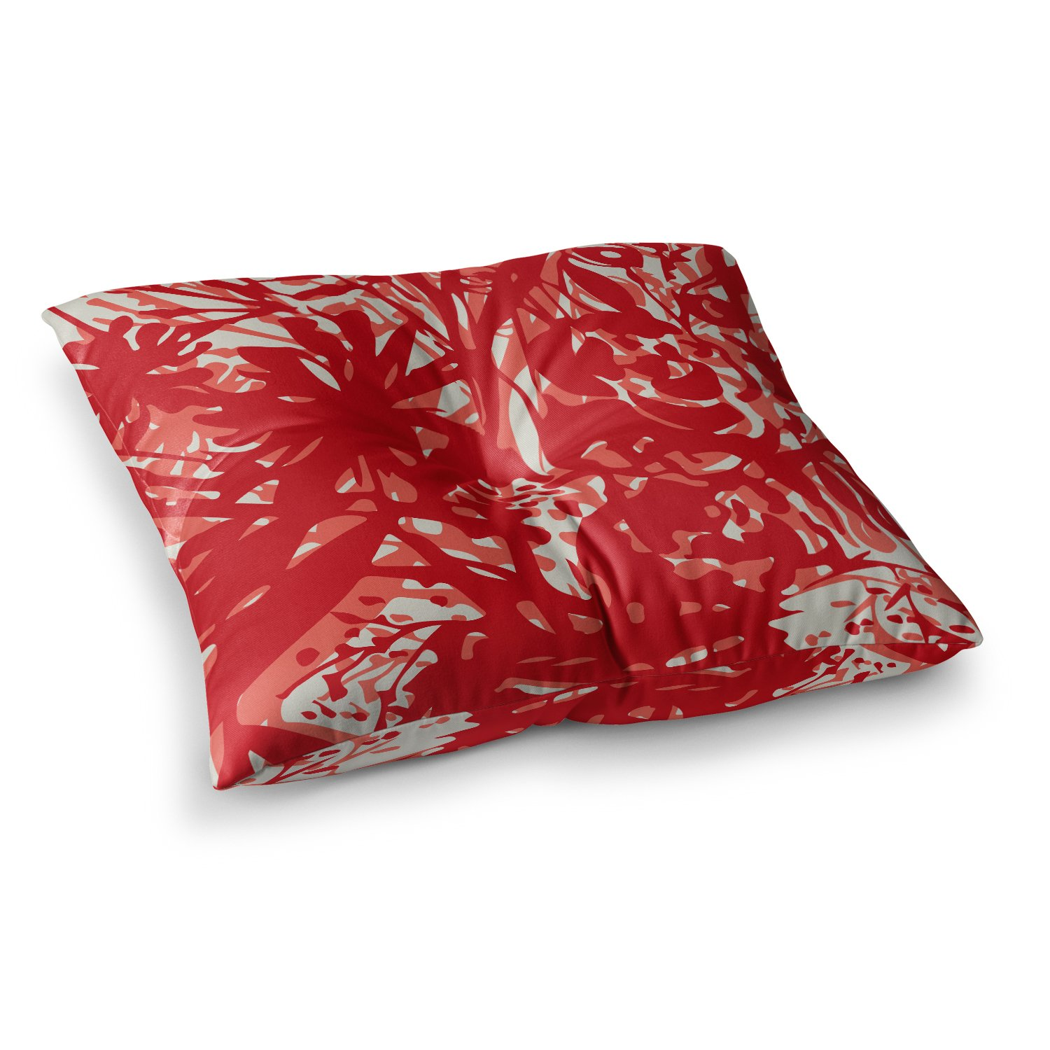 23 x 23 Square Floor Pillow Kess InHouse Patternmuse Inky Floral Poppy Red Coral Painting