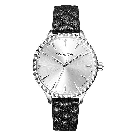 Thomas Sabo Reloj para mujer Rebel at Heart Correa de cuero negro WA0320-203-201-38 mm: Amazon.es: Relojes