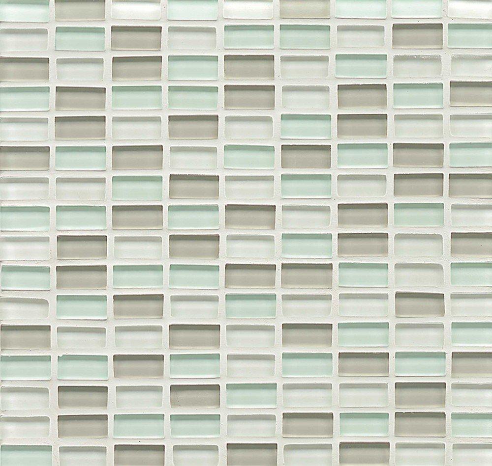 Bedrosians GLSHAMSPAMBPGB ''Hamptons Glass'' Mosaic with Mini Brick in Gloss Blend, 11'' x 11'', Spa