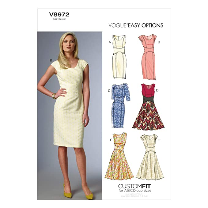 Vogue V8972 VGE A5 (6-8-10-12-14) Schnittmuster zum Nähen, Elegant ...
