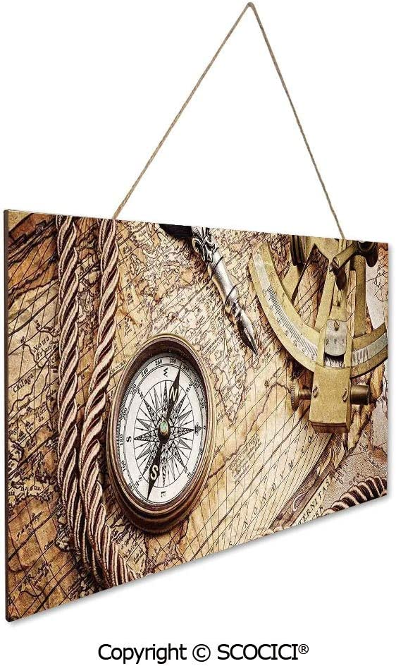 """UHOO Wooden Sign Decor 9.8"""" by 15.75"""" Vintage Navigation Voyage Theme Lifestyle Image with Sextant and Compa Wood Jute Rope Hanging Sign Plaque for Home Decor"""