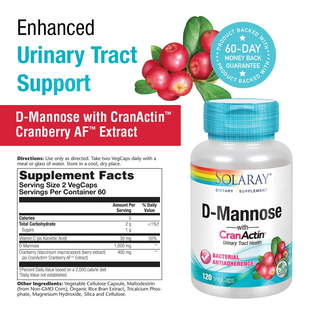 Solaray® D-Mannose with CranActin Cranberry Extract 1000mg | for Normal, Healthy Urinary Tract Support | with Vitamin C | Non-GMO & Vegan | 120 Count | 2 pk by Solaray (Image #2)