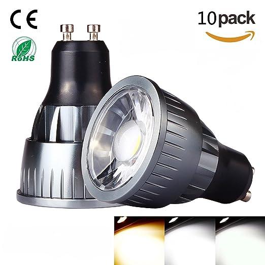 SmartSun - Bombilla LED de cuello largo GU10 de 6 W, luz blanca cálida de 3000 K, ...