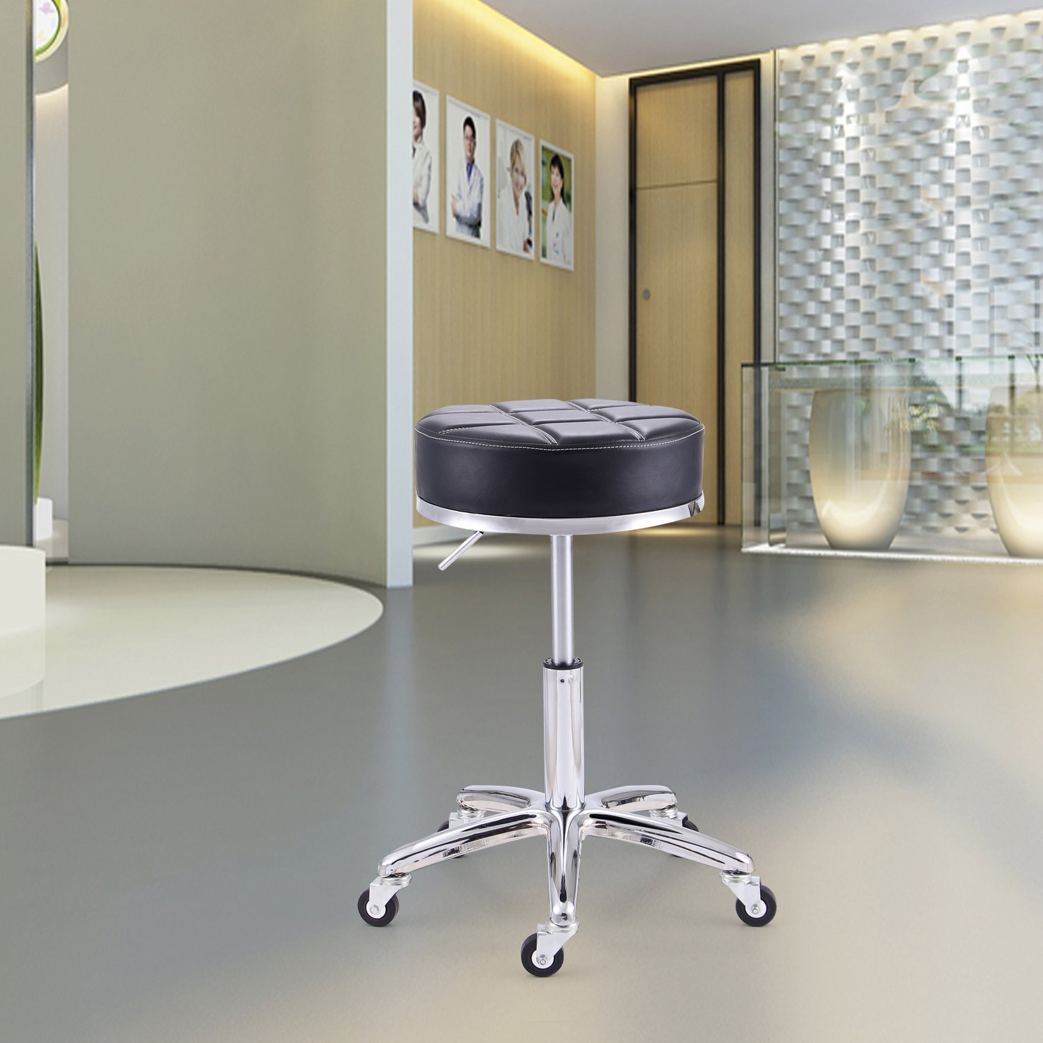 Rfiver Modern PU Leather Relief Hydraulic Adjustable Swivel Drafting Stool Chair for Salon Spa Massage Kitchen Office Shop Club Bar in Black SC1004-1 by Rfiver (Image #7)