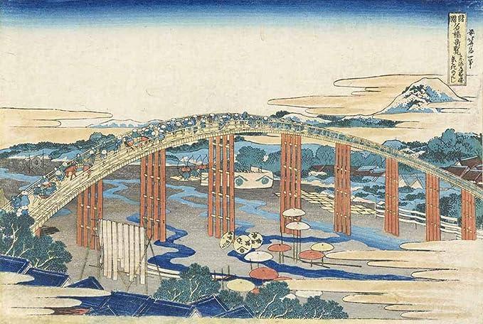 Katsushika Hokusai - Tokaido Okazaki Rare Vistas Puentes Famosos Varias Provincias Reproducción Cuadro sobre Lienzo Enrollado 90X60 cm - Pinturas Paisaje Impresións Ukiyo-e Decoración Muro: Amazon.es: Hogar