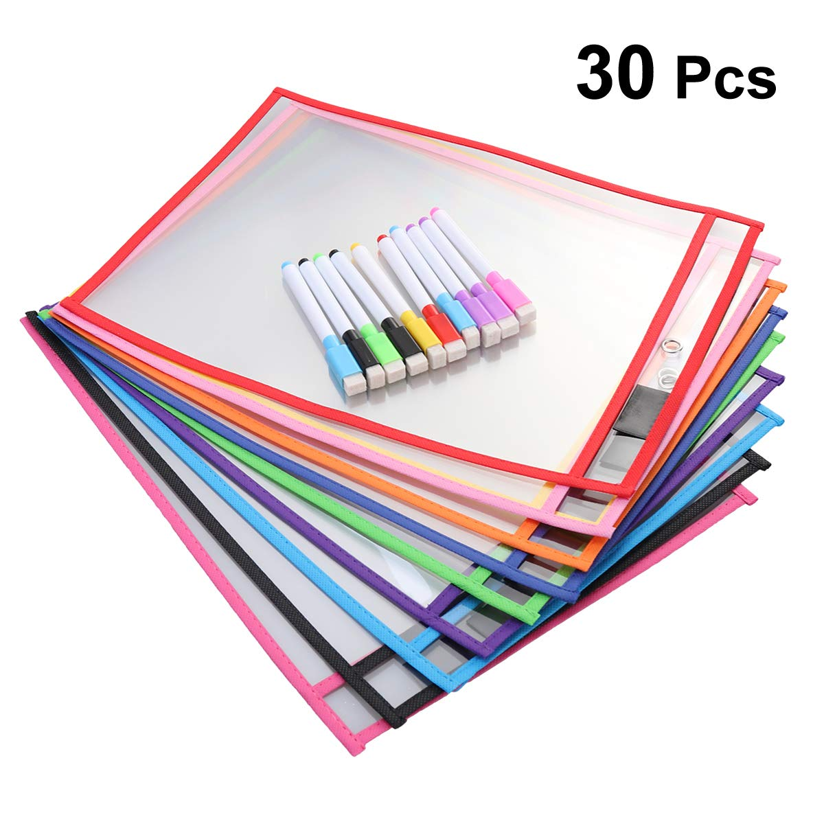 NUOBESTY 30Pcs Dry Erase Pockets Teacher Supplies for Classroom Organization