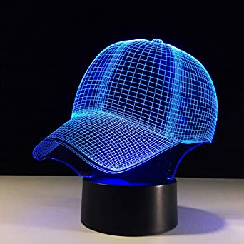 Ydwd3D Sombrero Gorra de béisbol Lámpara Led 7 Colores cambiando ...
