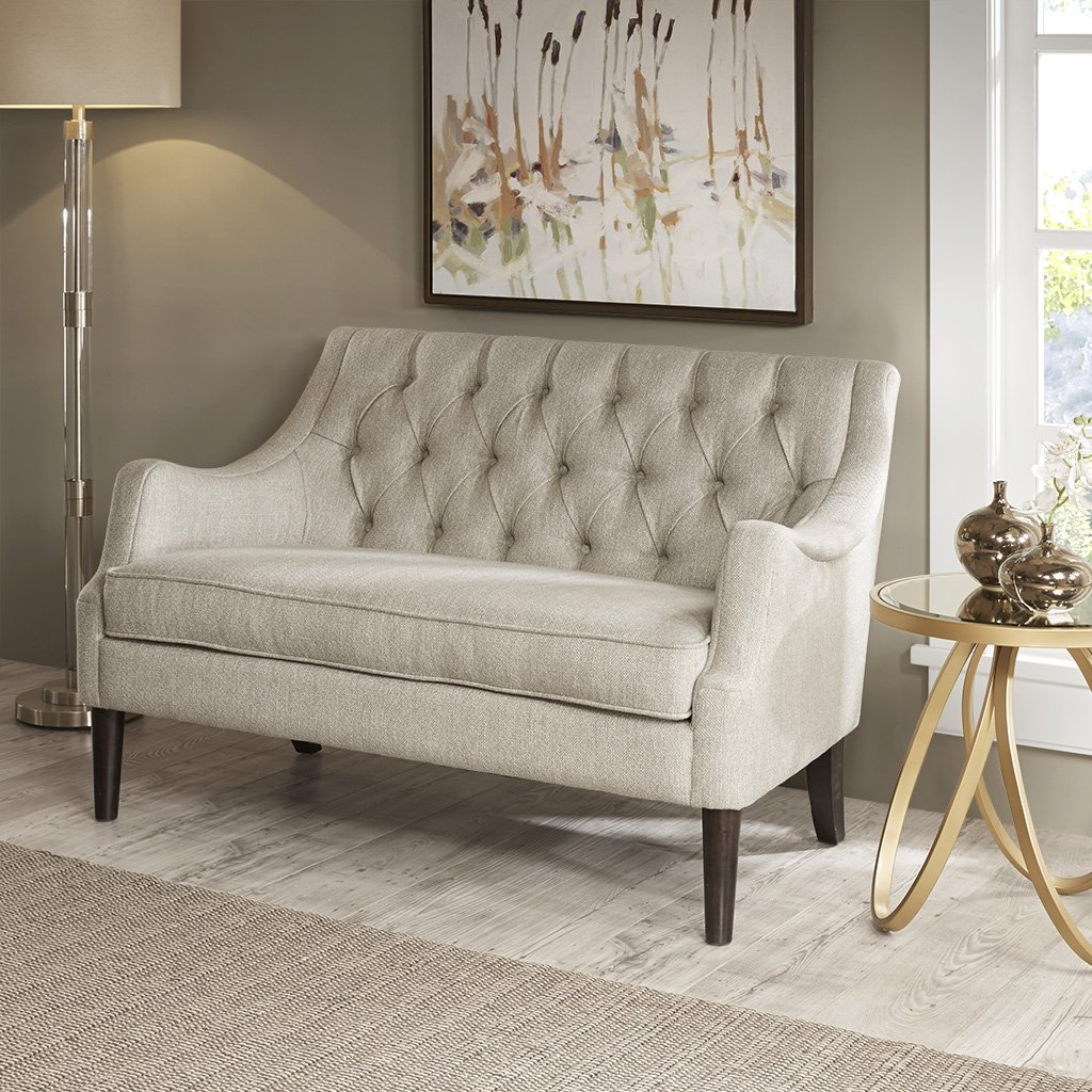 Madison Park MP106-0662 Qwen Modern Classic Accent Chair Solid Wood, Plywood, Button Tufted Loveseat Settee - Family Room Sofa Furniture, 49.5