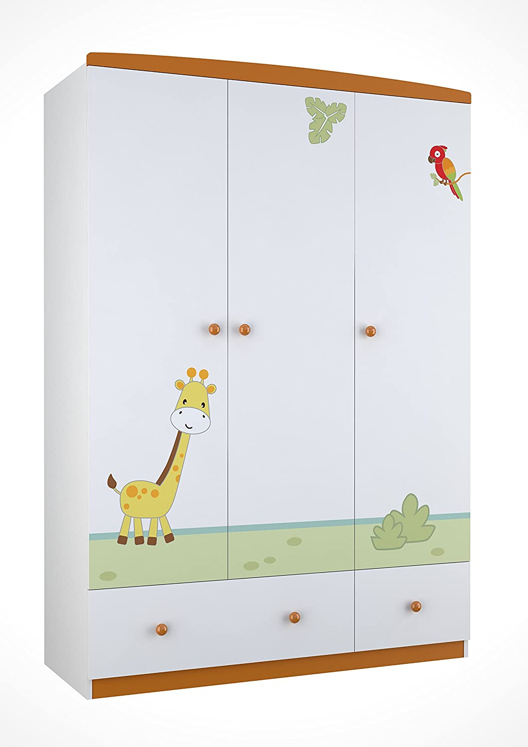 Polini Kids Kinder Kleiderschrank Basic Jungle 3-türig weiß orange mit Motiven, 1188-1