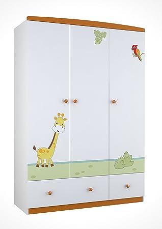 Polini Kids 0001188 1 Kinderkleiderschrank Basic Jungle 3 Türig Mit