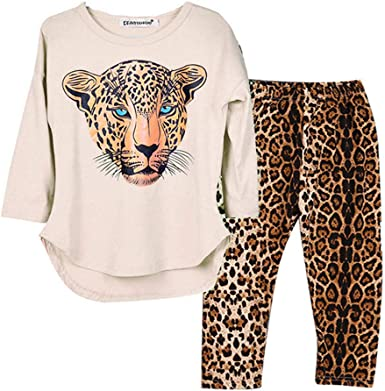 Kids Boys Girls Leopard Printed Long Sleeve Tops+Pants 2Pcs Casual Outfits Set