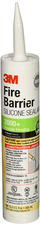 3M Fire Barrier Silicone Sealant 2000+, Gray, 10.3 Fl Oz Cartridge