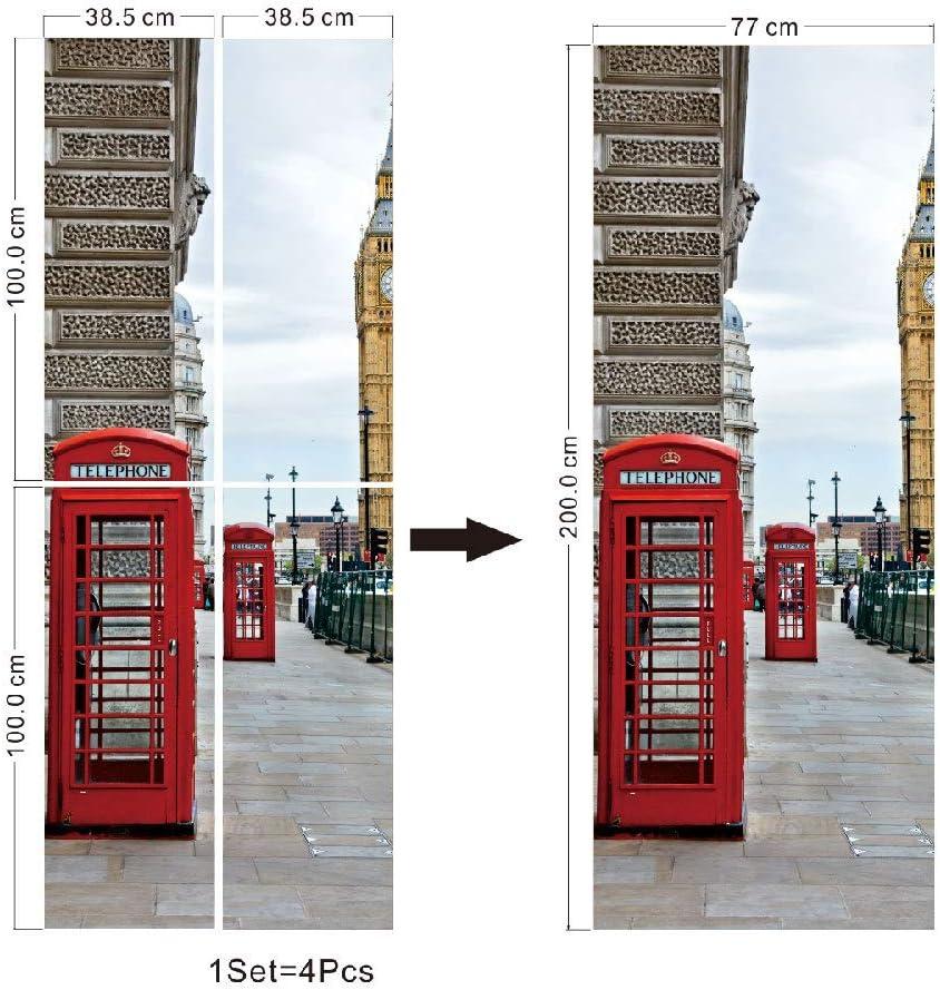 Nueva pegatina de puerta de cabina de teléfono roja pegatina de ventana de vidrio pegatina de pared de renovación de puerta de madera creativa