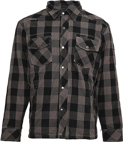 Bores Lumberjack - Camisa (resistente al agua, a cuadros, talla M), color gris y negro