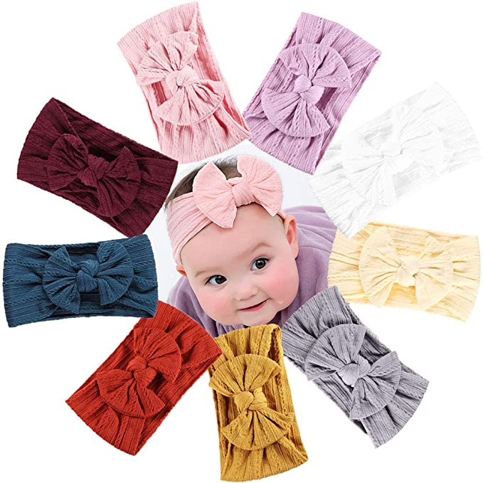 b1984a15f Nylon Baby Headband 9 Pack, Top Knot Bow Headbands, Baby Girl Wide Headband  Turban