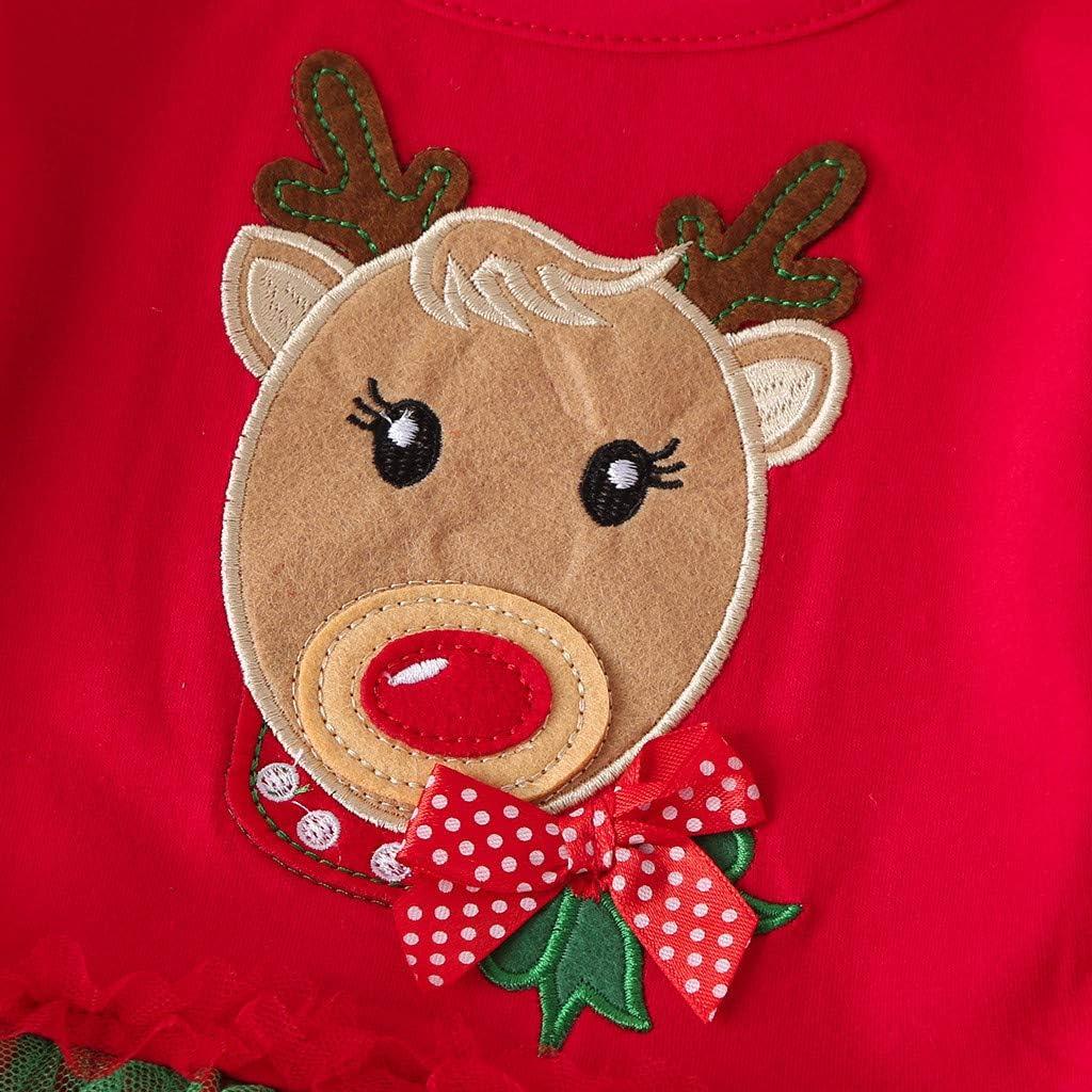 Jimmackey 2pcs Natale Completini Neve Stampa Pantaloni Bambina Vestiti Neonata Volant Pullover Santa Applique Felpa Cime