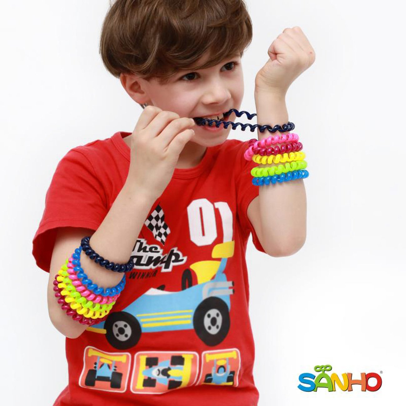 Sanho Chewable Jewelry Coil Bracelet Set- Speech And Communication Aid For Autism And Sensory, Assorted Colors (Set of 12)