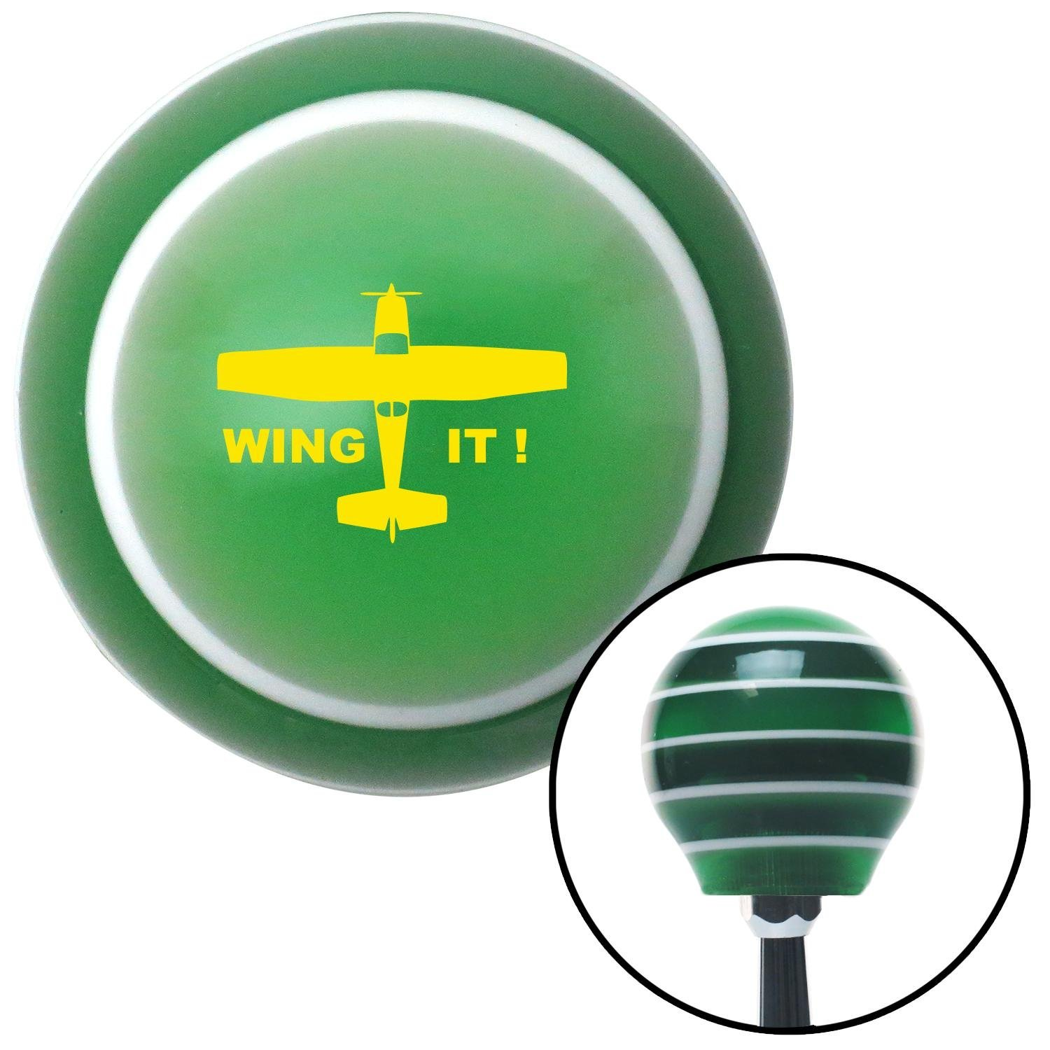 American Shifter 129585 Green Stripe Shift Knob with M16 x 1.5 Insert Yellow Wing It