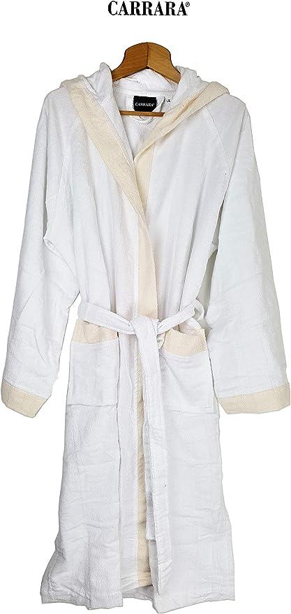 Carrara - Albornoz para Hombre y Mujer con Capucha, Rizo de Puro algodón (Blanco Talla L/XL): Amazon.es: Hogar