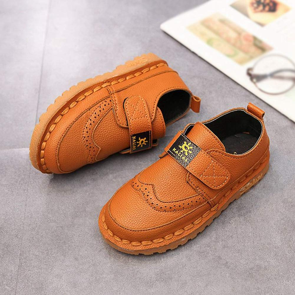 F-OXMY Toddler Little Kids Wing-Tip Brogue Oxfords Dress Shoes Boys Comfy Slip On Walking Casual Shoes Brown by F-OXMY (Image #2)