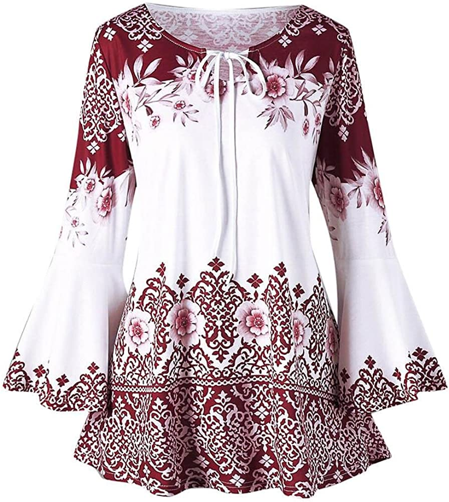 Goddessvan Womens Flare Sleeve Tops Blouses Casual Printed Keyhole T-Shirts Plus Size Tops