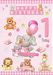 Kids Baby Girl 1st Birthday Card 8x55 Mix Match