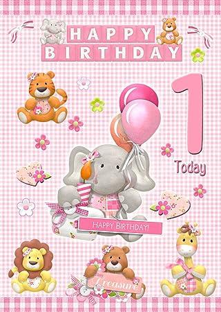 Kids Baby Girl 1st Birthday Card 8x55 Mix Match On 8x55