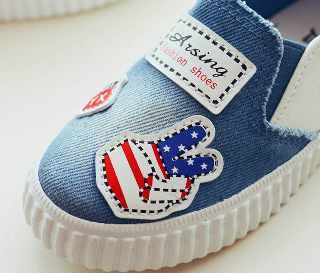 iDuoDuo Boys Girls Fun Print Outdoor Leisure Shoes Easy Slip On Loafer Flats Blue 12 M US Little Kid by iDuoDuo (Image #5)