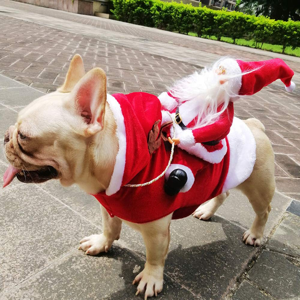 LIDEBLUE Christmas Pet Costume Cat and Gog Santa Riding Elk Suit Christmas Theme Apparel Party Dressing up Clothing for Dogs Cats Clothes Pet Outfit
