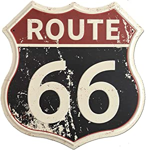 "SUDAGEN Route 66 Signs Vintage Road Signs with Polygon Metal Tin Sign for Wall Decor Art 12"" x 12"" (Route 66)"