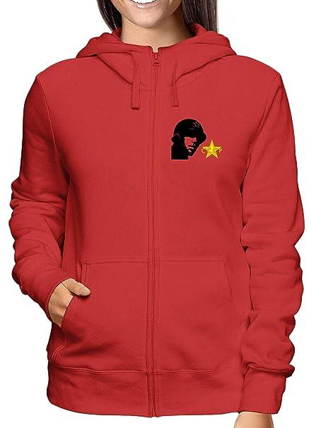 Sweatshirt Damen Hoodie Zip Rot TCO0044 CCCP Soldier Felpe con cappuccio