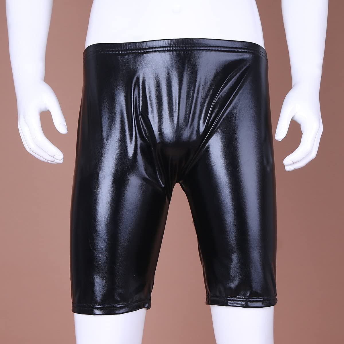 iEFiEL Men Leather Look Masculine Thigh Pants Lounge Shorts