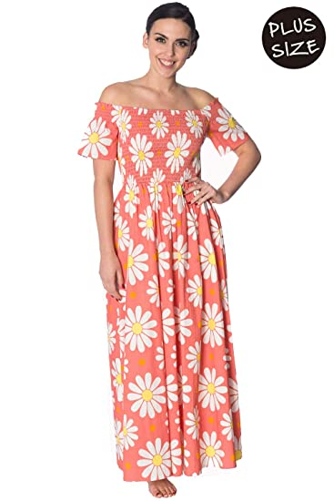 Banned Crazy Daisy Smock Plus Size Dress - Green Coral at Amazon ...