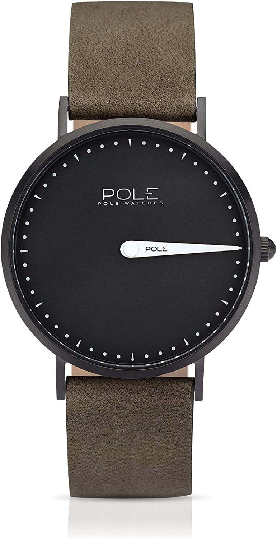 Pole Watches Reloj de Pulsera Analógico Monoaguja de Cuarzo para Hombre con Correa de Cuero   Modelo Classic