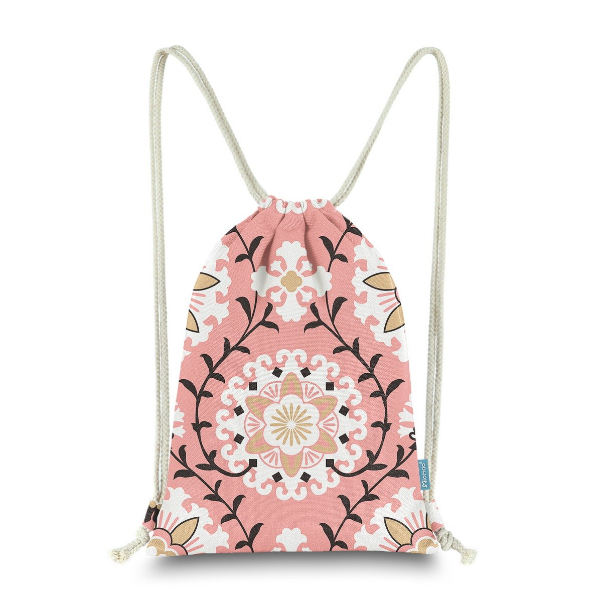 Miomao Drawstring Backpack Gym Sack Pack Dahlia Style Floral Sinch Sack Canvas String Bag Beach Cinch Pack For Men & Women, 13'' X 18'', Coral Pink