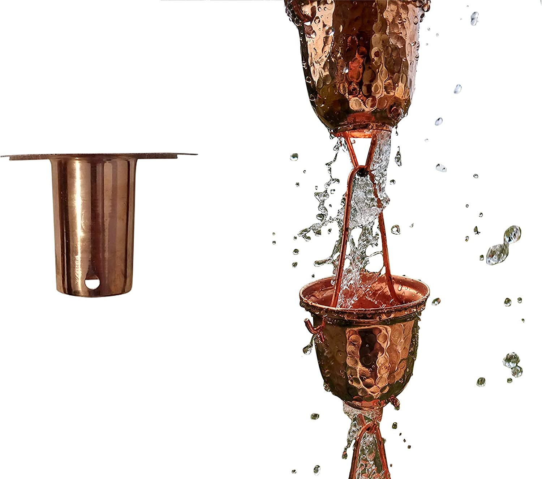 Sunflower Home & Garden 8 Ft Pure Copper Bell Cup Rain Chain with Bonus Adapter Installer Piece