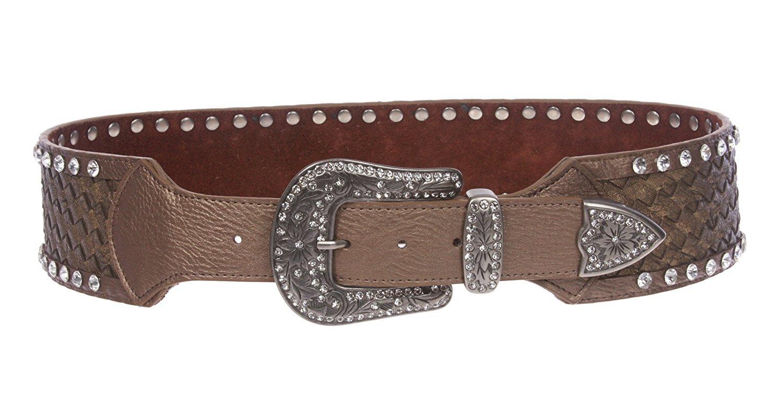 MONIQUE Women Western Contoured Braided Rhinestone Buckle Leather 70mm Belt,Bronze M/L - 40