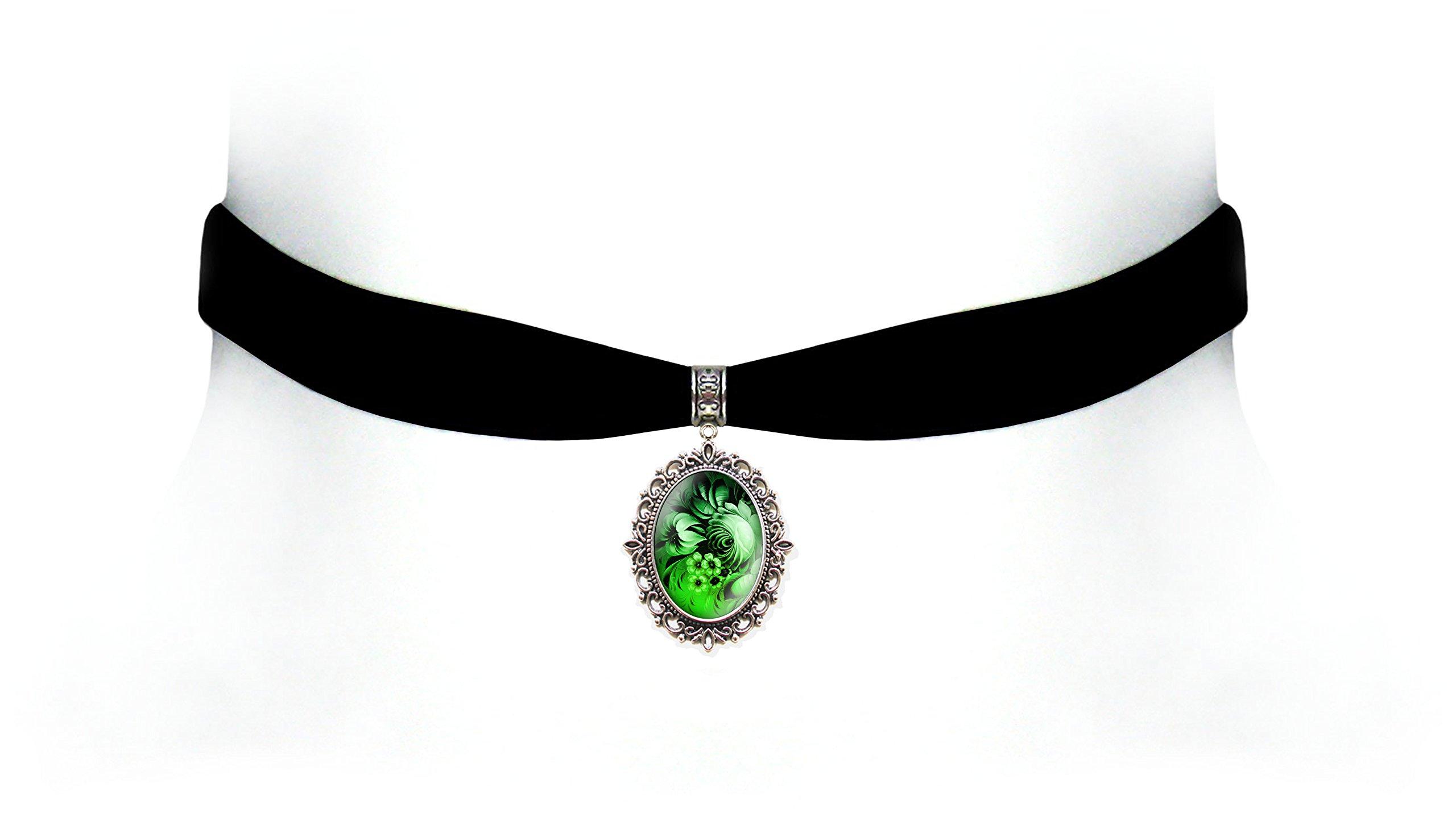 Victorian Vault Black Velvet Flower Choker Steampunk Gothic Pendant Necklace (Green)