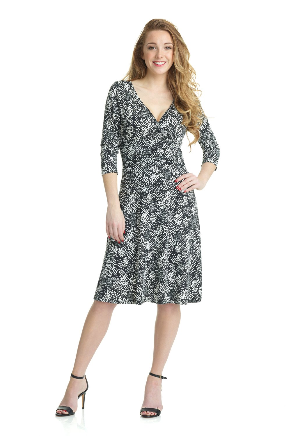 Rekucci Women's Slimming 3/4 Sleeve Fit-and-Flare Crossover Tummy Control Dress (14,Modern Snake)