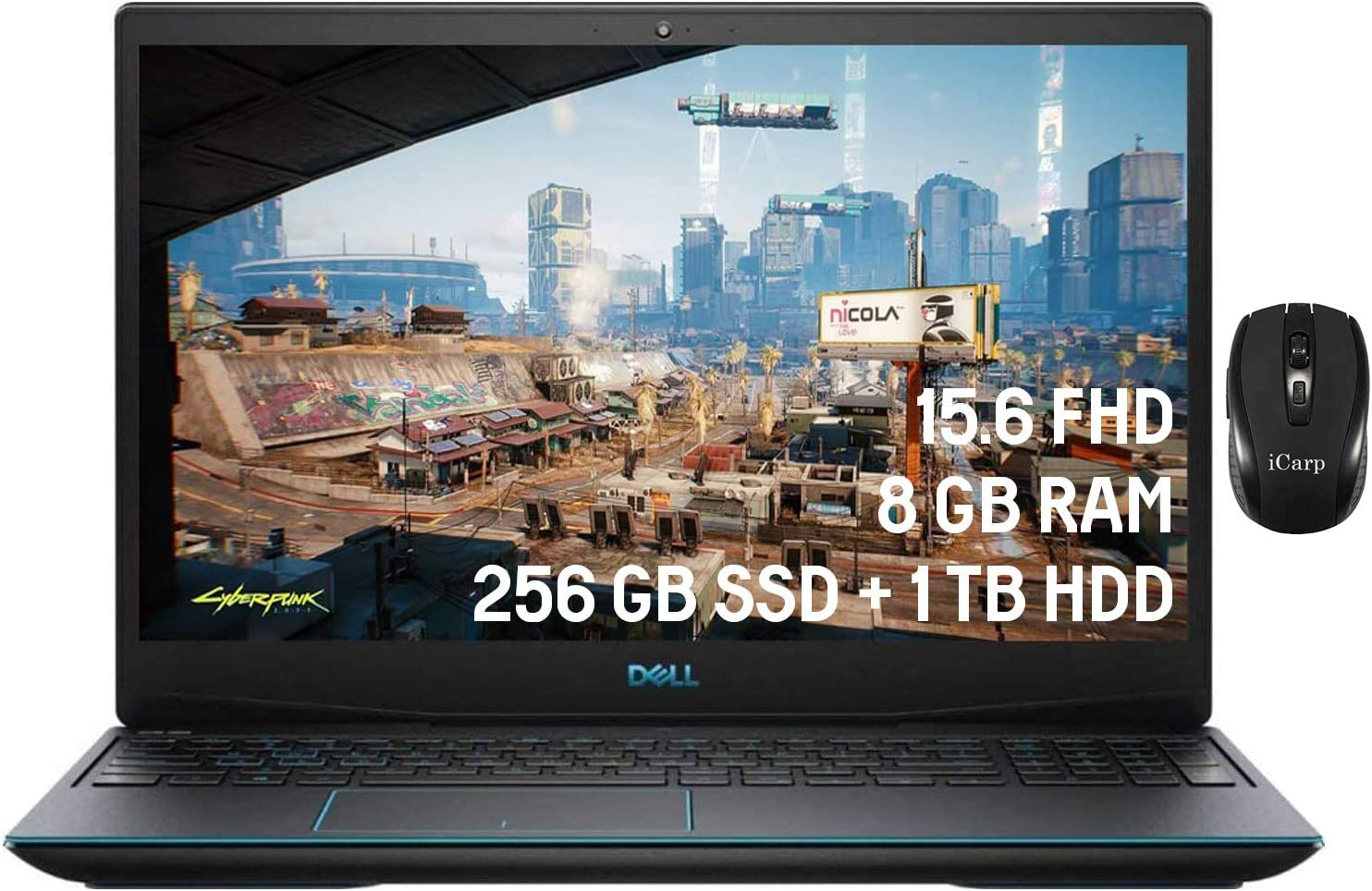 """2020 Dell G3 15 Flagship Gaming Laptop 15.6"""" FHD 60Hz Intel Quad-Core i5-10300H (Beats i7-8850H) 8GB DDR4 256GB SSD 1TB HDD 4GB GTX 1650 Backlit Win 10"""