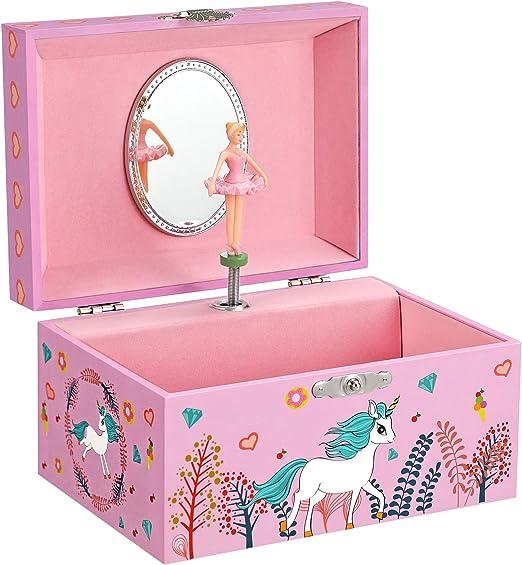 SONGMICS Caja Joyero Musical para Niños, Caja de Música, con Bailarina, Compartimento Espacioso, Espejo, Melodía del Unicornio, Idea de Regalo, Rosa JMC020PK: Amazon.es: Hogar