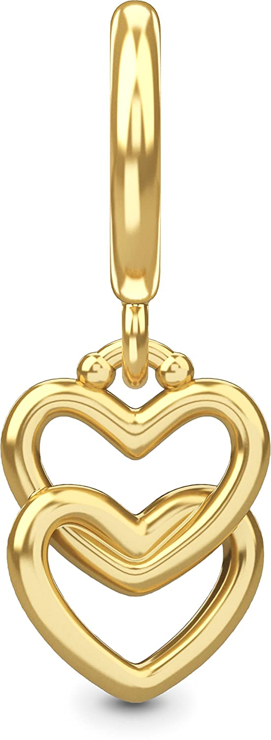 Endless Jewelry Charm Two Hearts Sterling Silver Gold Plated 53249