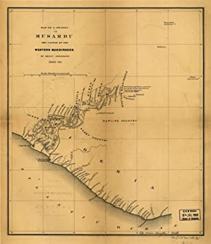 Amazoncom Vintage 1869 Map of Map of a journey to Musardu the
