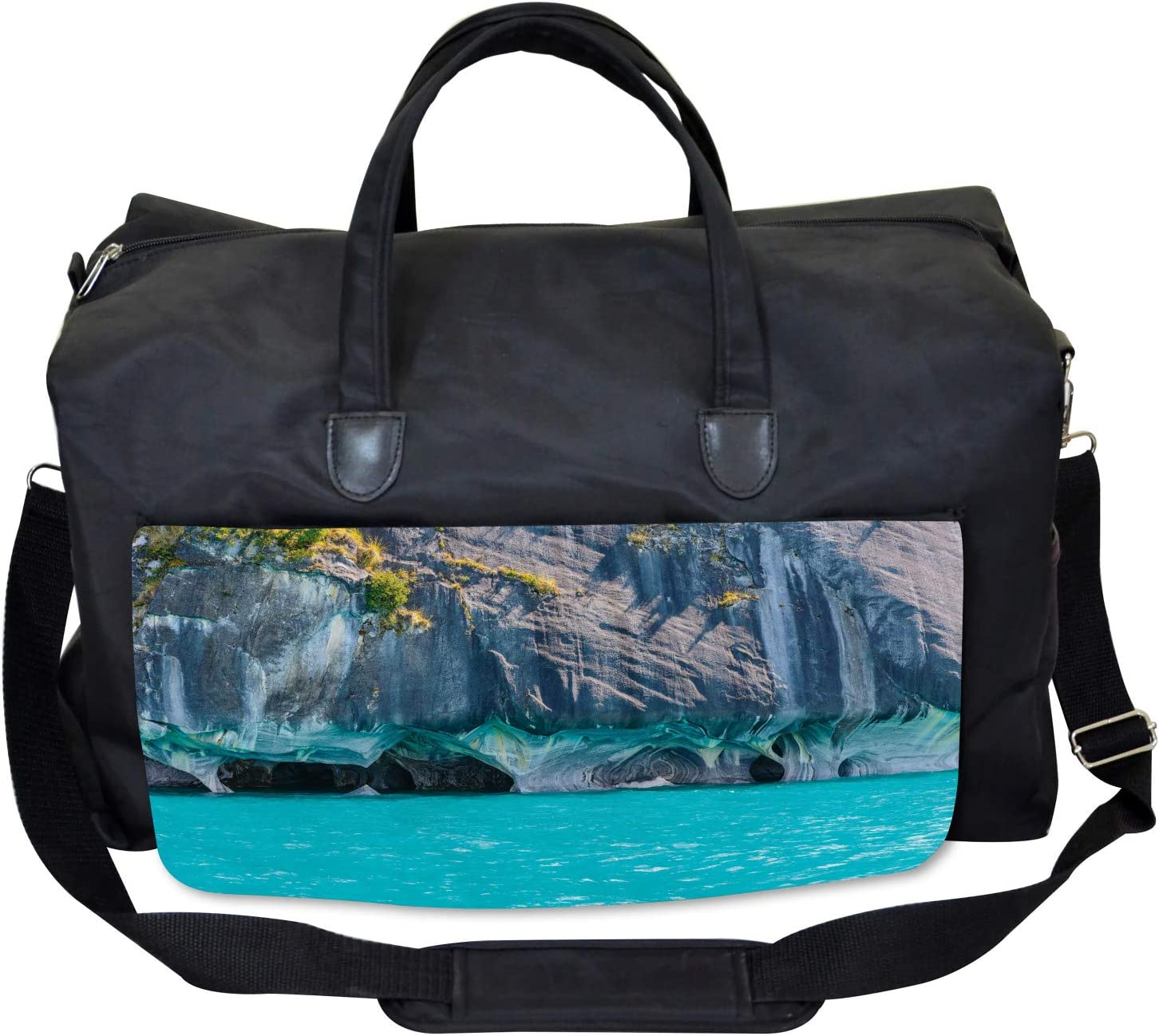 Large Weekender Carry-on Marble Caves Chile Ambesonne Turquoise Gym Bag