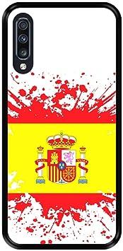 Funda Negra para [ Samsung Galaxy A70 2019 ] diseño [ Ilustración 1, Bandera de España ] Carcasa Silicona Flexible TPU: Amazon.es: Electrónica