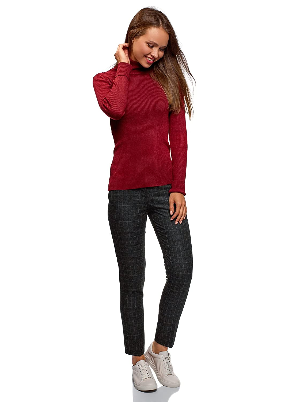 oodji Ultra Femme Pantalon Slim /à Finition en Similicuir